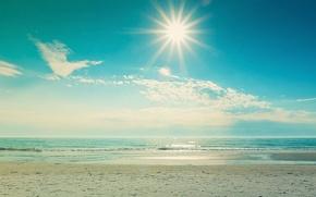 Картинка песок, море, волны, пляж, лето, небо, вода, солнце, облака, пейзаж, природа, блики, отражение, фон, отдых, …