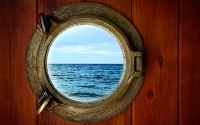 Картинка море, волны, небо, стиль, иллюминатор, sky, sea, style, wave, collage, HD wallpapers., коллажный, porthole