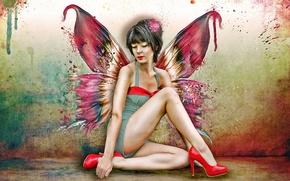 Картинка девушка, бабочка, крылья, туфли, красные