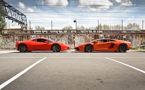 Картинка оранжевый, красный, профиль, red, lamborghini, ferrari, феррари, италия, orange, 458 italia, aventador, lp700-4, ламборгини, авентадор, …