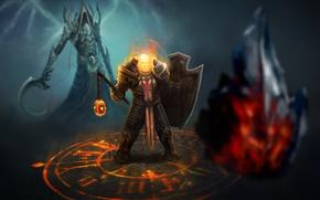 Картинка Игры, Доспехи, Воин, Демон, Щит, Фантастика, Diablo III, Game, Blizzard Entertainment, Reaper of Souls, Malthael