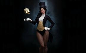 Обои костюм, череп, черный фон, девушка, волшебница, Zatanna, цилиндр, взгляд, поза