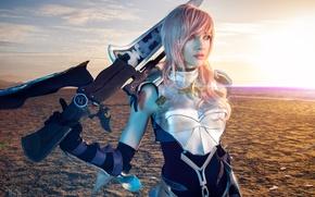 Картинка девушка, пустыня, воительница, Lightning, косплей, Final Fantasy XIII-2, Lyz Brickley