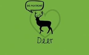 Обои игра слов, зеленый, любовь, олень