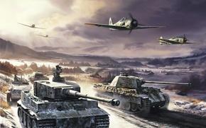 Картинка зима, Тигр, Германия, самолеты, Пантера, Армия, история, танки, немцы, Вторая мировая война, немецкая техника