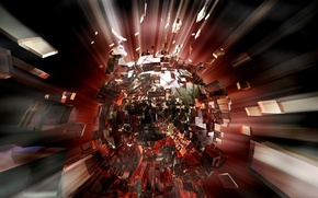 Картинка взрыв, осколки, фон, свечение, ядро, разлёт