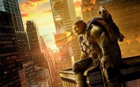 Обои оружие, постер, Черепашки-ниндзя 2, дома, город, нунчаки, фэнтези, Teenage Mutant Ninja Turtles: Out of the ...