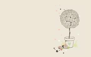 Обои шарики, цветы, вектор, сердчки, минимализм, арт, розы, клумба, трава, горшок