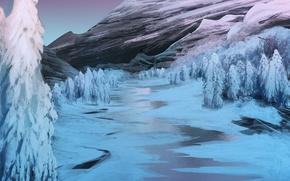 Картинка лед, зима, снег, деревья, горы, река, арт