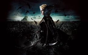 Картинка армия, вороны, кинжал, битва, Королева, Шарлиз Терон, Snow White And The HuntsMan