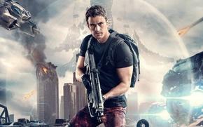 Обои оружие, постер, фон, глава 3: За стеной, The Divergent Series: Allegiant, рюкзак, Тео Джеймс, Theo ...