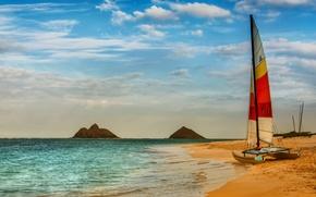 Картинка море, пляж, небо, облака, природа, лодка, beach, sky, sea, nature, clouds, boat