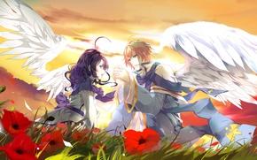 Обои девушка, закат, цветы, поляна, крылья, парень, Двое, влюбленные, art, aiki-ame