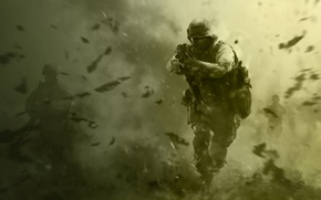 Картинка оружие, солдат, call of duty, зеленый фон, спецназ, cod, modern warfare