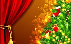 Картинка шарики, украшения, праздник, игрушки, елка, ветка, Новый Год, Рождество, Christmas, New Year, елочные, Christmas Eve