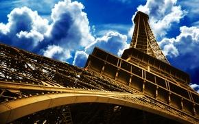 Обои Париж, небо, башня, Франция