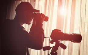 Обои detective, surveillance, binoculars, equipment