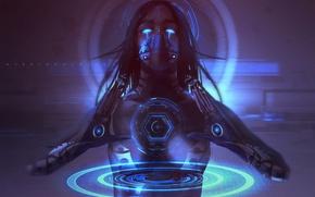 Обои взгляд, руки, девушка, киборг, sci-fi, киберпанк, технологии