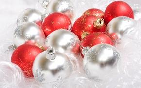 Обои шарики, белый, новый год, праздник, красный