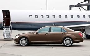 Картинка car, машина, Mercedes, plane, S-class, car and plane