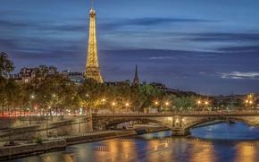 Обои мост, река, Франция, Париж, Эйфелева башня, Paris, ночной город, набережная, France, Eiffel Tower, Seine River, ...
