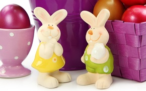 Картинка улыбка, праздник, корзина, яйца, Пасха, кролики, Easter