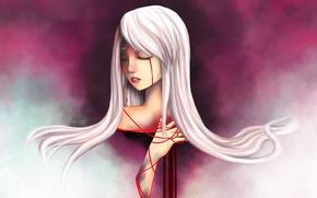 Картинка девушка, ленты, красное, арт, слёзы, белые волосы