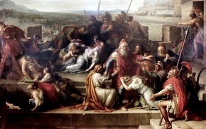 Картинка battle of Achilles and Hector, The consternation of the family of Priam, Etienne Barthelemy Garnier