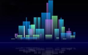 Картинка город, отражение, фон, краски, дома