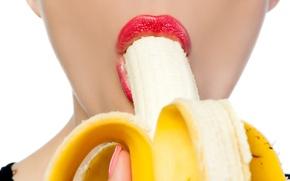 Обои woman, lips, fruit, banana