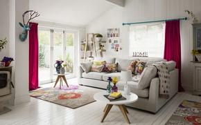 Картинка интерьер, жилая комната, бохо стиль