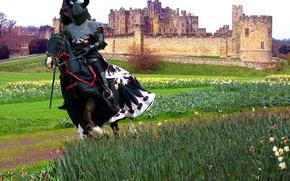 Картинка поле, замок, доспехи, рыцарь, копьё, латы, лощадь, трава. цветы, вымпел, попона