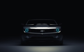 Обои 3D Graphics, Car, Muscle, by Wickdart, Масл, Camaro, Фары, Blue, Кар, Light, Front, Chevrolet, Перед, ...