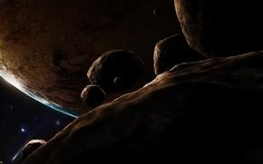 Обои комета, астероид, Планета