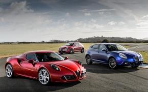 Картинка Alfa Romeo, red, blue, coupe, mixed