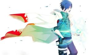 Обои Аниме, Наруто, Naruto, накидка, короткие волосы, Uchiha Sasuke, Учиха Саске, расенган