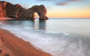 Картинка море, пляж, камни, скалы, берег, арка, штиль, райский уголок