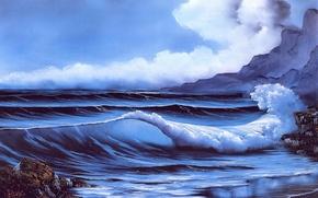 Картинка море, пляж, небо, вода, облака, камни, скалы, берег, волна, картина, живопись, Bob Ross, Secluded Beach