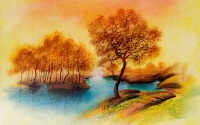 Картинка осень, деревья, пейзаж, река, рисунок, покой