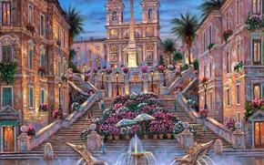 Картинка цветы, пальмы, вечер, Рим, Италия, фонтан, лестницы, сумерки, живопись, Robert Finale, Rome. The Spanish Steps
