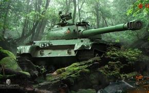 Обои деревья, средний, 121, мох, World of Tanks, зелень, танк, китайский, засада, лес, камни