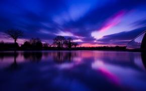 Картинка river, отражение, Англия, sunset, reflection, вечер, trees, река, деревья, village, деревня, Великобритания, Great Britain, evening, ...