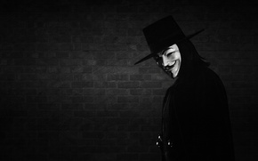 Обои V — значит вендетта, Anonymous, V for Vendetta, стена, маска, улыбка, черно-белый фон