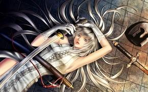 Картинка девушка, волосы, меч, катана, арт, перчатки, шлем, на полу, шнур, yuki hayabusa