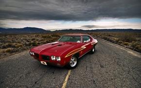 Картинка дорога, car, muscle car, понтиак, Pontiac GTO