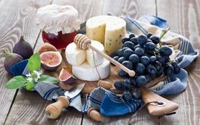 Картинка сыр, виноград, натюрморт, мёд, инжир
