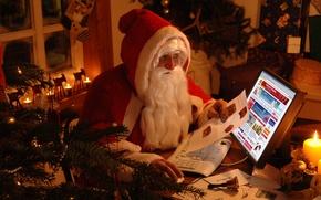 Картинка зима, праздник, елка, санта клаус, дед мороз
