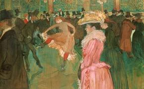 Картинка люди, картина, кабаре, жанровая, Танец в Мулен Руж, Анри де Тулуз-Лотрек