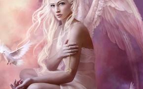 ангел, крылья, голубь, медальон обои