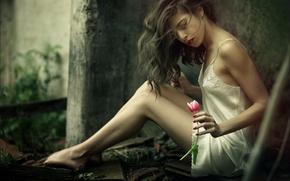 Картинка цветок, девушка, фон